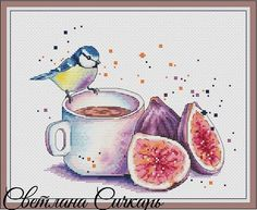 "Cross stitch design ""Tit with figs"" Designer – Sichkar Svetlana Artist – Tateshi Yokotaishi The size of the embroidery: crosses (for canvas aida 14 is Cross Stitch Tutorial, Cute Cross Stitch, Cross Stitch Bird, Cross Stitching, Cross Stitch Embroidery, Embroidery Patterns, Cross Designs, Cross Stitch Designs, Cross Stitch Patterns"