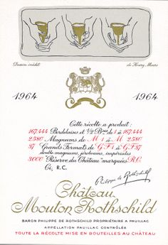 Chateau Mouton Rothschild 1964 label by HENRY MOORE- design for the 1964 Mouton Rothschild label, three golden chalices cradled in cupped hands, evokes the solemn mood of some ancient ritual.