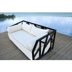Solis Nidum Indoor/ Outdoor Patio Deep-seated Black Powder-coated Steel Modern Daybed Sofa with White Cushions (Black Powder Coated Steel), Size Single, Patio Furniture (Fabric) Welded Furniture, Steel Furniture, Black Daybed, Contemporary Outdoor Sofas, Steel Sofa, Modern Daybed, Best Outdoor Furniture, White Cushions, Indoor Outdoor