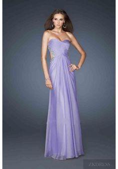 Cute Natural Chiffon Lilac Long Sleeveless Evening Dresses Sale zkdress24013