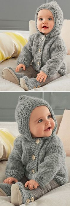 Hooded Coat - Free Pattern Free Knitting Pattern History of Knitting Wool rotating, weaving and stitching jobs such as BC. Baby Cardigan Knitting Pattern Free, Baby Sweater Patterns, Knit Baby Sweaters, Baby Patterns, Free Childrens Knitting Patterns, Sweater Coats, Knitting For Kids, Free Knitting, Knitting Wool