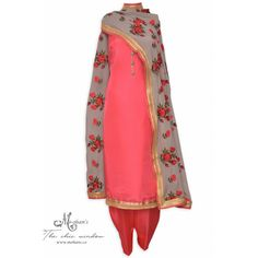 Elegant gajari and mouse brown unstitched suit featuring in buttons and embroidered dupatta-Mohan's the chic window Ethnic Fashion, Indian Fashion, Ethnic Outfits, Fashion Outfits, Pakistani Outfits, Pakistani Clothing, Suits For Women, Clothes For Women, Punjabi Salwar Suits