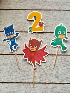 PJ Mask Cupcake Toppers by Craftypapermama27 on Etsy