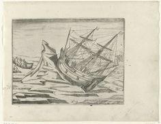Anonymous | Het schip vastgelopen in het ijs, 1596, Anonymous, 1615 - 1617 | Het schip vastgelopen en opgetild door het ijs, 27 augustus - 1 september 1596. De bemanning brengt de sloep en proviand aan land. Kopieën naar de oorspronkelijke illustraties in het reisverslag van de tocht van Willem Barendsz en Jacob van Heemskerck in 1596-1597 en het verblijf op het eiland Nova Zembla, No. 12.