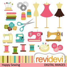 Sewing cliparts. Sewing machines, thread, mannequin, dress, cute bottons, and more. Great set for your craft and creative projects. Formats: PNG (300dpi, transparent background), and JPG (300dpi) Individual images