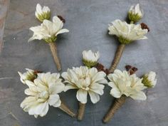 Rustic boutonniere wrapped with burlap by DressMyWedding on Etsy, $7.50