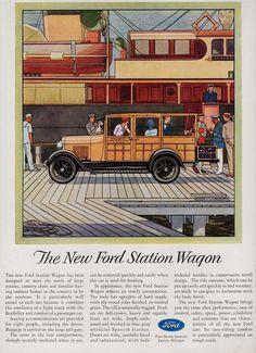 Ford Station Wagon Detroit 1929 - Mad Men Art: The Vintage Advertisement Art Collection Vintage Advertisements, Vintage Ads, Car Advertising, Old Ads, Ford Motor Company, Retro Cars, Station Wagon, Cars For Sale, Classic Cars