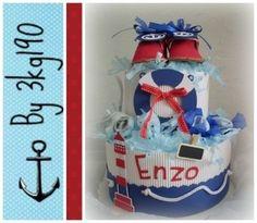 """GATEAU DE COUCHES PETIT MARIN Rouge, blanc et bleu  : Décoration pour enfants par 3kg190 Diaper cake """"Navy baby"""" Red and blue Cadeau de naissance - Babyshower"""