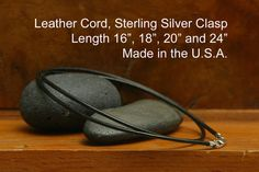 Genuie Black Leather 1.5mm Cord Necklace with Sterling Silver Clasp, 16 18 20 24 inches, Made in USA