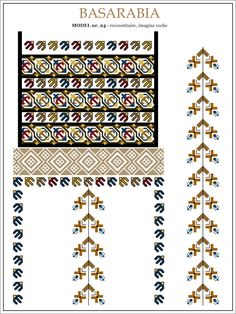 Semne Cusute: iie din BASARABIA - model (24) Embroidery Sampler, Folk Embroidery, Modern Embroidery, Embroidery Stitches, Embroidery Patterns, Cross Stitch Patterns, Machine Embroidery, Knitting Patterns, Palestinian Embroidery