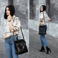 Holynights Claudia - Sheinside Grid Sweater, Vipme Bag, Solewish Boots, Locman Watch - Grid