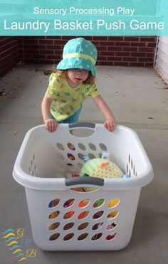 This laundry basket pushing activity is a great way to provide your child or any individual with proprioceptive input. Pushing, pulling, and the other heavy work associated with this activity will increase an individual's proprioceptive input!
