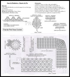 gráfico-tapete-girassol.4 Filet Crochet, Crochet Stitches, Crochet Patterns, Crochet Ideas, Crochet Summer Tops, Luanna, Crochet Squares, Crochet Home, Bathroom Sets