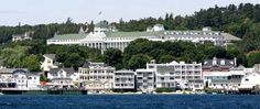 The Grand Hotel and businesses on Mackinac Island.