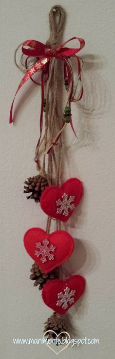 Red hearts with snowflakes and pine cones. Perfect for winter decorating through Valentine's Day!