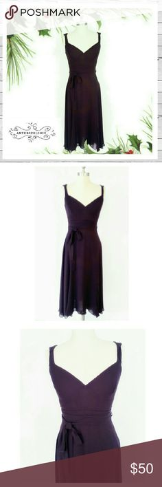 Anthrpologie Elevenses Plum Chiffon Dress Sz 4 Stunning beauty by Anthrpologie Elevenses in Sz 4. Fully lined. Excellent like new condition. 100 % Rayon. Back zipper. Tie at waist. Staggered hemline.  Just beautiful. Perfect for the holidays and beyond. Sorry no trades. Anthropologie Dresses Midi
