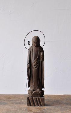 Japanese Buddhist Wood Carving Jizo Bosatsu Statue
