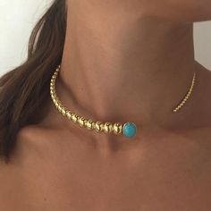 "897 Likes, 12 Comments - Nikos Koulis (@nikoskoulisjewels) on Instagram: ""Summer statement: Spectrum collection yellow gold #choker with #turquoise ☀️💧#nikoskoulisjewels"""