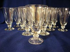 Set of 12 Vintage Fostoria Crystal Sceptre Clear Juice Glasses.Stemware #6017 #Fostoria