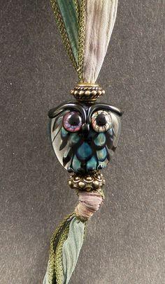 Handmade Glass Lampwork Bead Owl Pendant Set  by PeggySudzLampwork, $55.00