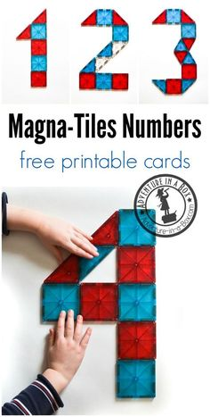 Task Shakti - A Earn Get Problem Teaching Math To Your Preschooler? The Free Printable Magna-Tile Inspiration Cards Are A Great Introduction To Numbers For Children Who Like To Build. Numbers Preschool, Math Numbers, Preschool Classroom, Preschool Learning, Kindergarten Math, Teaching Math, Teaching Numbers, Teaching Reading, Math For Kids