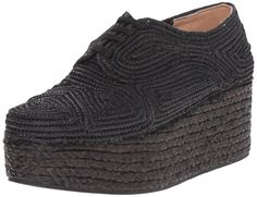 Robert Clergerie Women's Pinto Wedge , Black, 37 EU/6.5 B US. Statement-making shoe featuring swirling braided upper with lace-up vamp and tall platform-wedge heel.