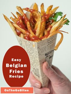 Our easy homemade Belgian fries recipe hits the comfort food gold. Hand cut potatoes, twice fried and seasoned with kosher or sea salt. The best fries ever. Or see our other recipes for oven baked fries. OnTheGoBites.Com #belgianfood #belgiancomfortfood