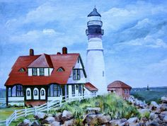 Portland  Maine Light House- water color by Nancy King