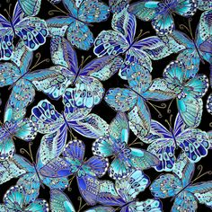 "Timeless Treasures Shimmer Butterflies Turquoise Metallic Fabric-9""x44"" REMNANT 
