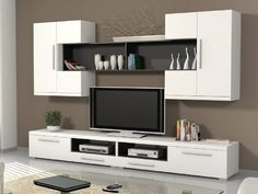 Home & Living Modern Tv Cabinet, Modern Tv Wall Units, Tv Cabinet Design, Tv Wall Design, House Design, Tv Unit Decor, Tv Wall Decor, Ideas Decorar Habitacion, Lcd Panel Design