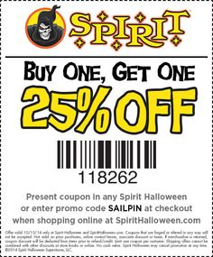 use this spooktacular bogo off coupon at your local spirit halloween store today - Spirit Halloween Store 2016
