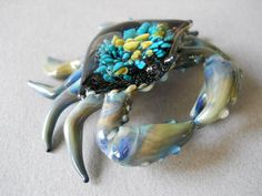 Blue Crab Sculpture Sea Anemone crab shell by Glassnfire on Etsy, $58.00