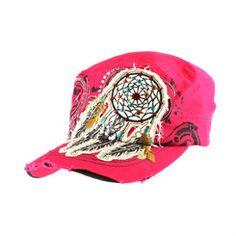 Bright Pink Chic Dreamcatcher Rhinestone Cadet Cap Hat