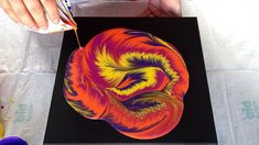 (471) Split cup acrylic pour ~ Sunset colours ~ Spin art ~ Relaxing