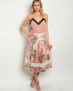 Floral Tulle layer Midi Skirt Fully Lined Spring