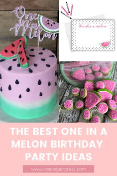 The best ideas for hosting a modern and fun One in a Melon 1st birthday featuring watermelon themed invitations, cake, cookies, outfits, party favors, decor, high chair banners, cake toppers, thank you cards and stickers, and more. 1st Birthday Party Themes, Party Themes For Boys, Birthday Invitations Kids, Girl Birthday, Popular Birthdays, First Birthdays, Melon Cake, One In A Melon, Party Guests