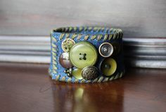 Green and Brown  Buttoned Denim Cuff Bracelet Accented with Vintage and New Buttons with a Snap Closure by AllintheJeans on Etsy