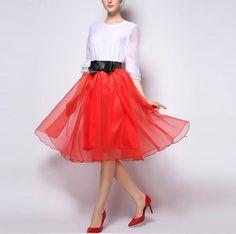 Elastic Waist Yarn Tutu Midi Skirt - Red Orange Skirt 2cbb6f4e6375