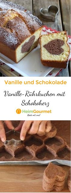 Recipe fr simple vanilla RHRKUCHEN with sem chocolate heart Healthy Desserts, Dessert Recipes, Chocolate, Frosting Recipes, Sweet Bread, Creative Food, Diy Food, Yummy Cakes, Sweet Recipes