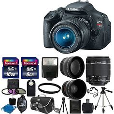"Canon EOS Rebel T3i 18 MP CMOS Digital SLR Camera and DIGIC 4 Imaging with EF-S 18-55mm f/3.5-5.6 IS Lens + 58mm 2x Professional Lens +High Definition 58mm Wide Angle Lens + Auto Flash + 59"" Strong lightweight Tripod + UV Filter Kit With 24GB Complete Deluxe Accessory Bundle Canon http://www.amazon.com/dp/B00HWZ49DU/ref=cm_sw_r_pi_dp_FOCIub0JC4414"