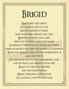 """Brighid is my """"patron""""- this is such a great honoring prayer."""