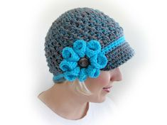 Melange Crochet Newsboy Cap. Big Flower with a Metal Button. Gray and Turquoise Beanie. Women's Hat. Warm Winter Accessory.