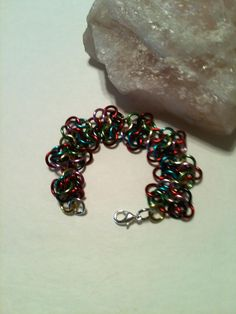 European 4 in 1 Rosettes Silver and MultiColor Authentic Modern Renaissance Chainmaille Bracelet on Etsy at ForChainMailleOnly by ForChainMailleOnly on Etsy