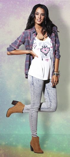 Nollie Plaid Shirt, Kirra Tank, & Bullhead Black Denim #holidaylooks #pacsun  Love how carefree and casual this look is! It's a bit of everything - boho, comfy, edgy, and hipster (it's the plaid ;) ).