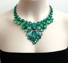 bib emerald necklace  emerlad green rhinestone bib by BienBijou