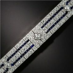 Tiffany Art Deco Sapphire and Diamond Bracelet - Antique & Vintage Bracelets - Vintage Jewelry Art Deco Jewelry, Modern Jewelry, Vintage Jewelry, Fine Jewelry, Handmade Jewelry, Jewelry Making, Yoga Jewelry, Vintage Silver, Antique Jewelry