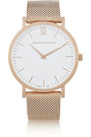 Larsson & Jennings - Montre en plaqué or rose CM Look 2015, The Bling Ring, Larsson & Jennings, Mode Style, White Enamel, Cool Watches, White Watches, Gold Watch, Watch 2