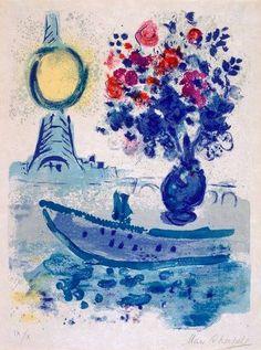 Available for sale from Fairhead Fine Art Limited, Marc Chagall, Le Bateau Mouche au bouquet - From Regards sur Paris Original lithograph, o… Marc Chagall, Chagall Prints, Chagall Paintings, Jewish Art, Art Moderne, Henri Matisse, Pablo Picasso, Oeuvre D'art, Art History