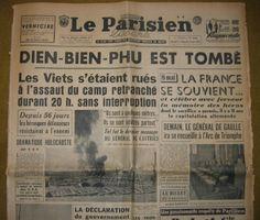 """""""DIEN BIEN PHU EST TOMBÉ"""" Une du Parisien après la chute de Dien Bien Phu. L'artisan de cette grande victoire vietnamienne est le général Giap mort vendredi à l'âge de 102 ans."""