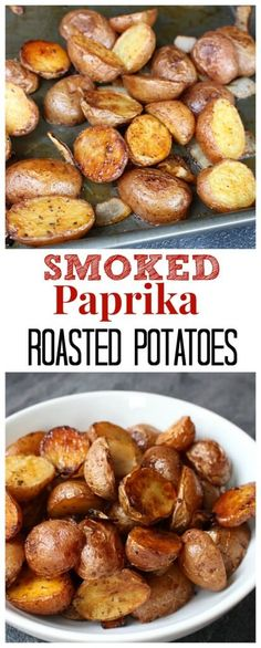 Smoked paprika roasted potatoes make an easy and colorful side dish packed with tons of flavor and few ingredients. @MomNutrition